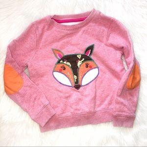 Mini Boden 5-6 years girl's pink fox sweatshirt